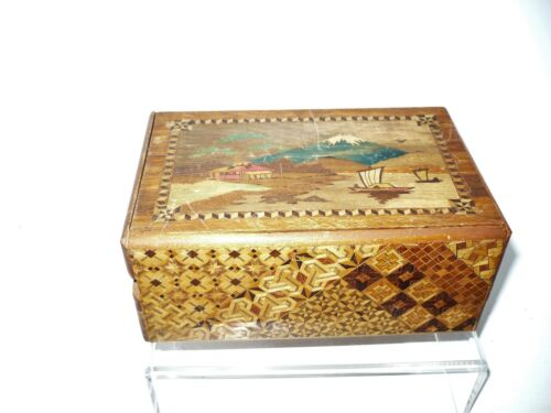 Vintage Japanese Wooden Puzzle Box Mount Fuji As Is