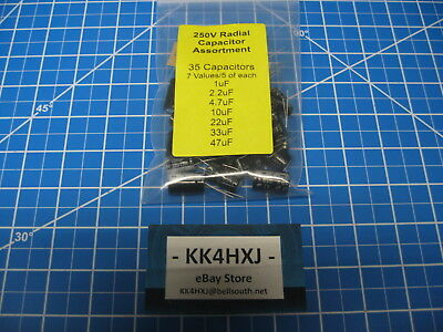 Radial Electrolytic Capacitor Assortment - 250v 7 Values 1-47uf - 5 Each - 35pc