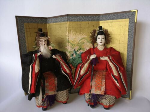Antique Japanese Meiji period Dolls Carved Wooden Ministers of Left & Right