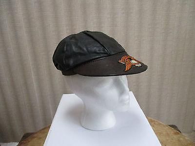 Vintage Harley Davidson Black Leather Hat- Size Small