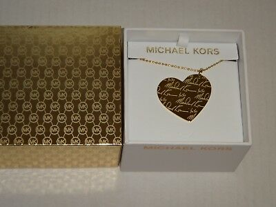 Michael Kors Women's MK Signature Gold Large Heart Long Necklace MKJ3973710 +BOX