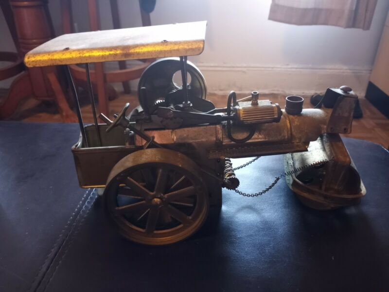 Antique Brass Steam Roller Locomotive Trolly Carriage Vintage
