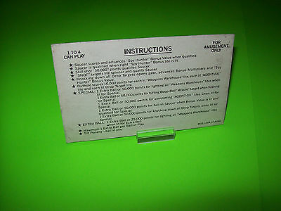 Bally SPY HUNTER 1984 Original Flipper Game Pinball Machine Instruction Card