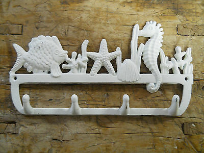 Cast Iron NAUTICAL Towel Coat Hooks Hat Hook Key Rack SEAHORSE, STARFISH, FISH