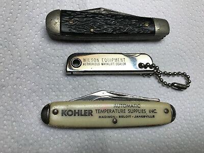 Lot of 3 Vintage Folding Pocket Knifes, 2 Advertising: Kohler, Wilson