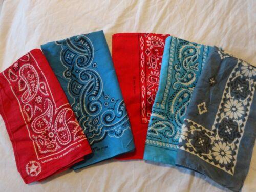 Vintage Lot of 5 BANDANAS Handkerchiefs WASH FAST One older FLORAL made USA