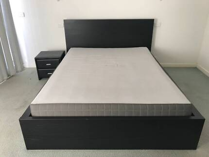 Ikea Malm queen sized bed, mattress and storage boxes
