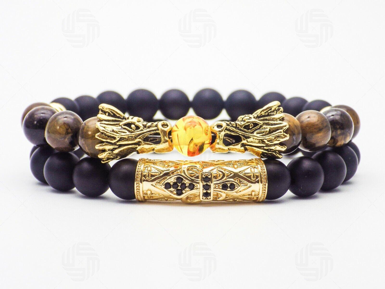 Mens Gold Dragon Head Tigers Eye Agate
