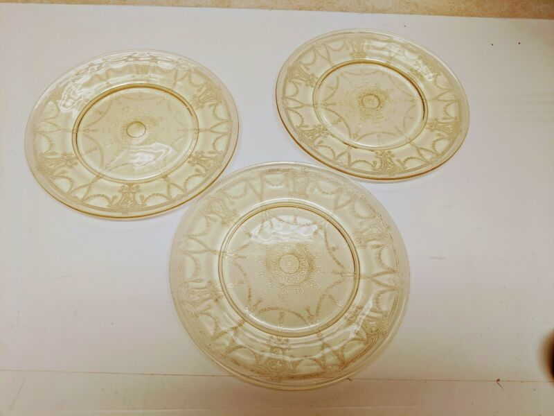 "3 Antique Yellow Depression Glass Cameo 9 1/4"" Plates"