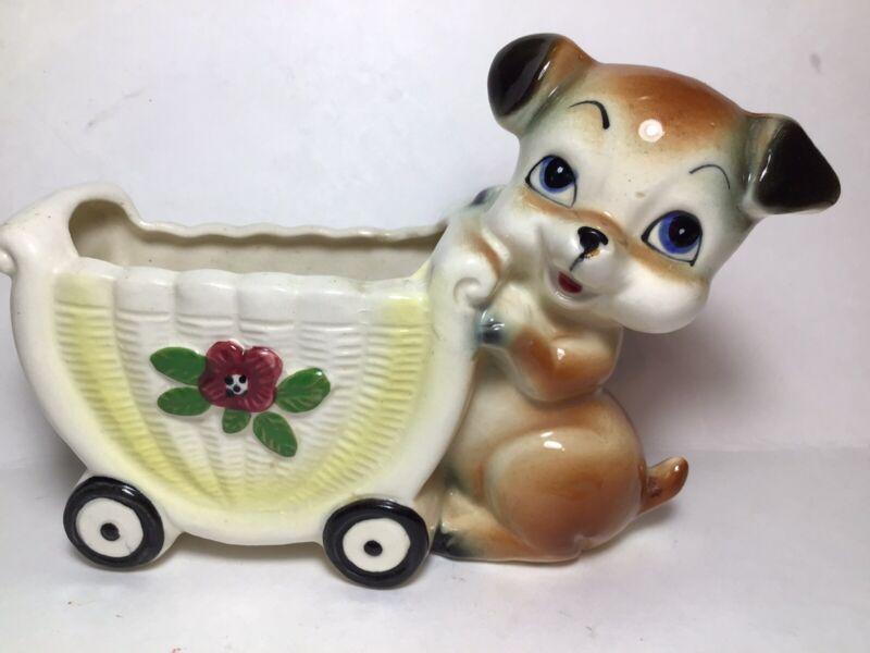 Ceramic Planter, Puppy Pushing Cart, Japan