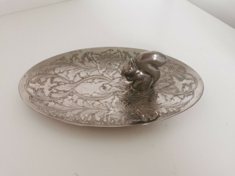 Vintage Silver Toned Ornate Dish- jewellery dish