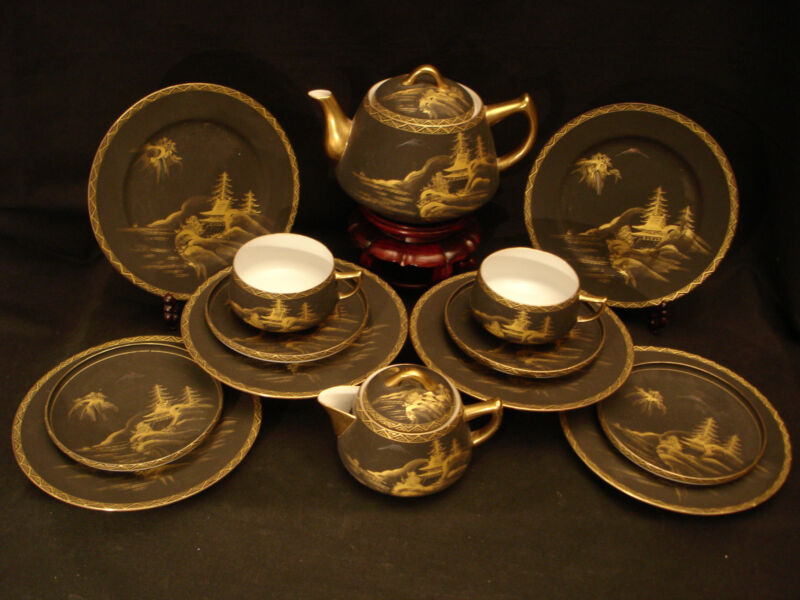 MARKED Shuzan JAPANESE TAISHO SATSUMA EGGSHELL C & S / PLATE / TEA  / COFFEE SET