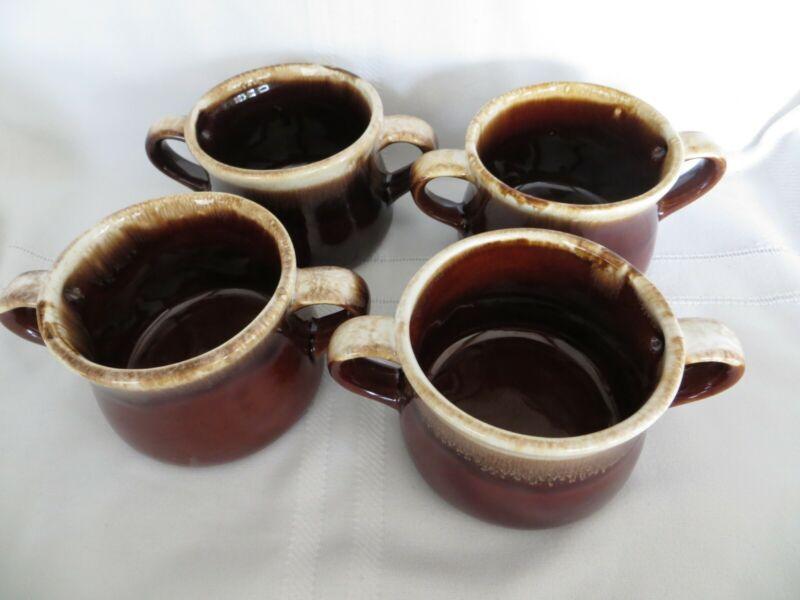 MCCOY Brown Drip SOUP CHILI BOWLS Double Handles Set of 4 VTG