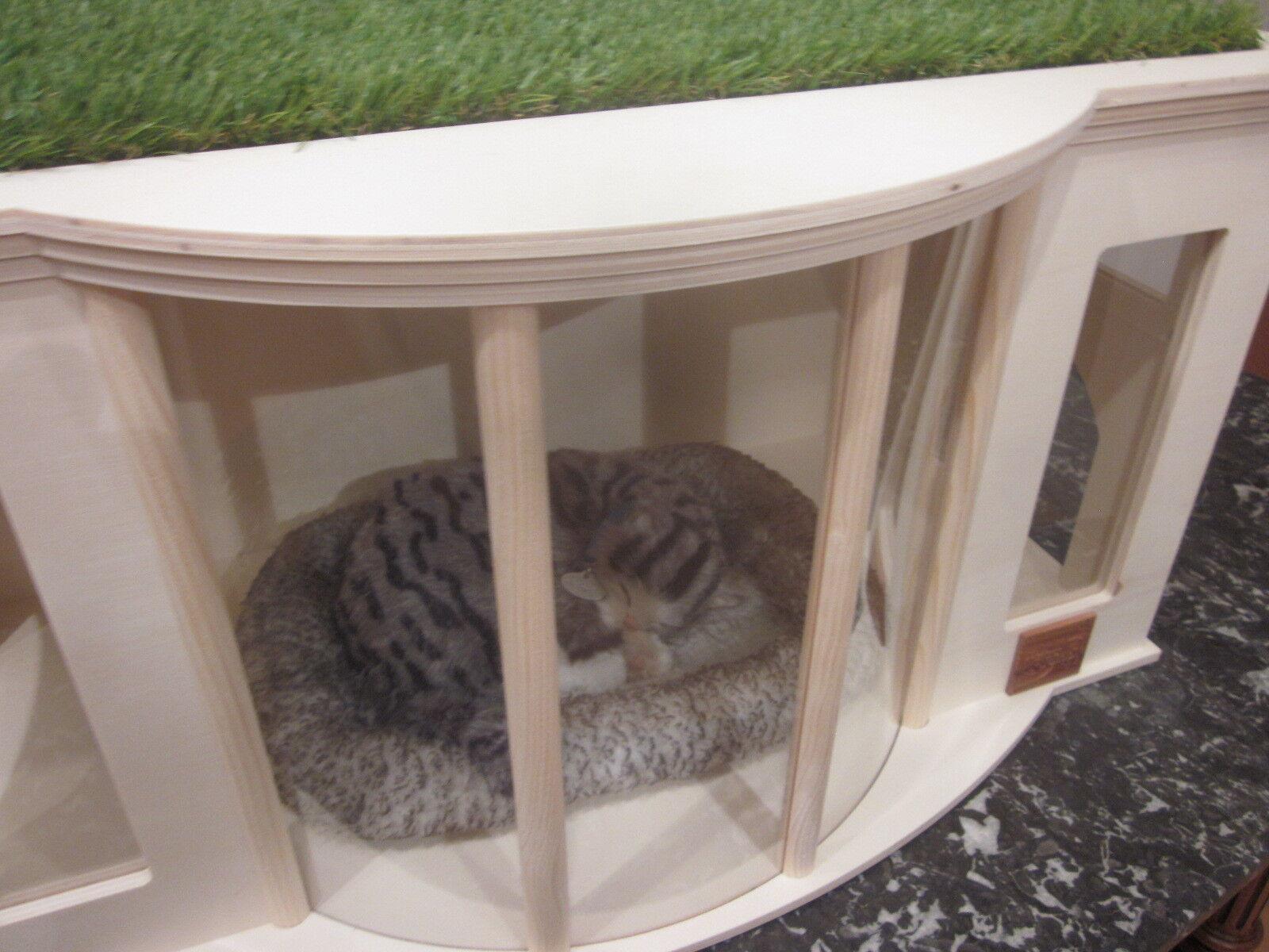 neu holz villa katzenhaus katzenbett katzenh tte hundebett chihuahua hundeh tte eur 84 00. Black Bedroom Furniture Sets. Home Design Ideas
