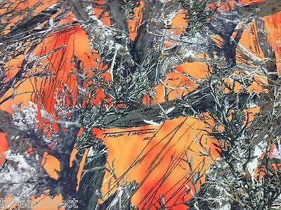 Auto Pro Camo MC2 Blaze Orange Cotton Poly Water Repellent Twill Fabric 60