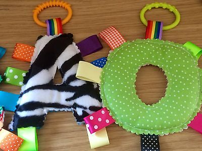 Personalised alphabet taggy toy comforter, decoration, keepsake, Gift for baby