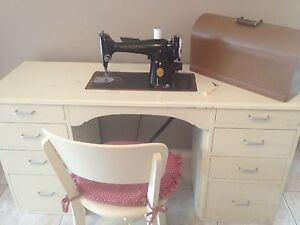 Vintage Singer 201k Sewing Machine in wooden desk with drawers Tallai Gold Coast City Preview