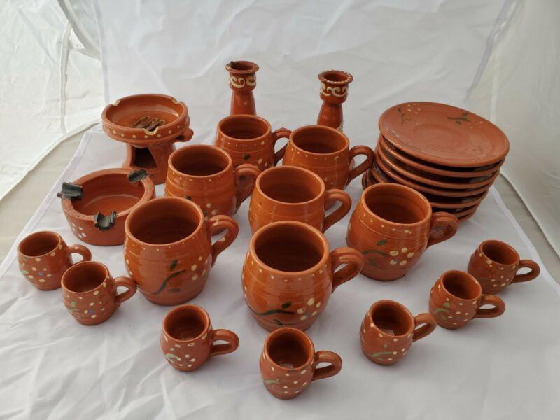 Vintage Mexican Jarro De Barro Red Clay Traditional Dish Set