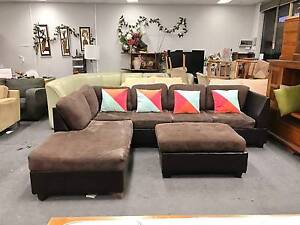 TODAY DELIVERY MODERN CHOCOLATE L SHAPED sofa PLUS OTTOMAN Belmont Belmont Area Preview