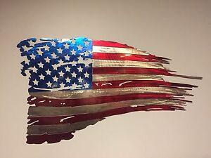 USA Flag USA Plasma Cut Metal Wall Art Hanging Home Decor America 30x17 Sale