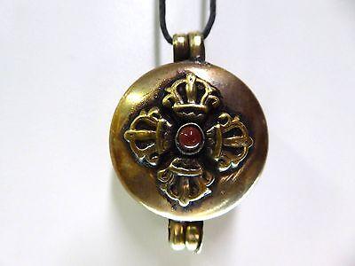 Tibetan Buddhist Copper Brass Double Sided Dorje Kalachakra Ghau Gau Box Locket