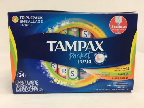 Tampax Pocket Pearl Womens Ladies Triplepack 34 Count Unscented Tampons New