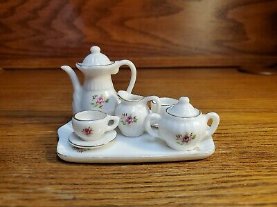 Milk White with Pink Rose Miniature Porcelain 10 pc. Tea Set  Rose Miniature Tea Set