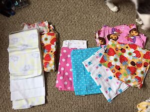 Baby blanket and burp cloths girls