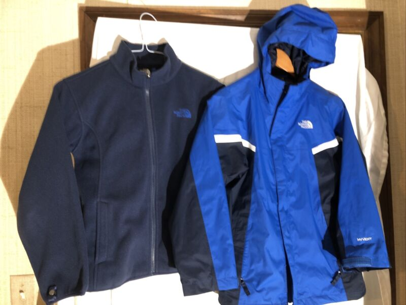 The North Face Boy's Hyvent 3-in-1 Blue Jacket With Removable Fleece Sz 10/12 M