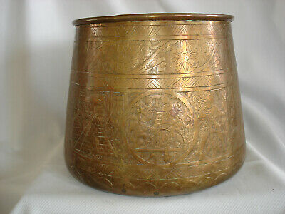 early 1900s 6.5 inches wide Antique Chinese brass with inlade stone planter