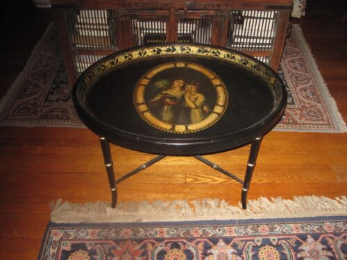 Antique Toleware Tray Table Georgian Hand Painted