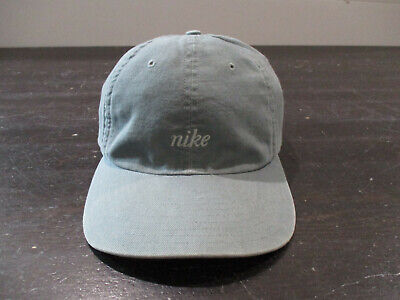VINTAGE Nike Hat Cap Strap Back Adjustable Green Orange Spell Out Mens 90s