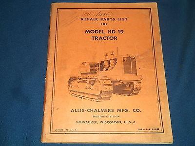Allis Chalmers Hd19 Crawler Tractor Dozer Parts Book Manual