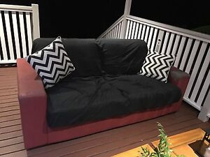 Red faux leather sofa futon Stafford Brisbane North West Preview