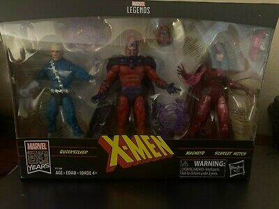 "MARVEL LEGENDS 6"" X-MAN FAMILY MATTERS MAGNETO, SCARLET WITCH, QUICK SILVER 3 PK"