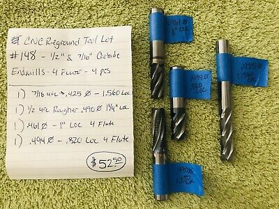 Cnc Reground Tool Lot 148 - 12 716 Carbide End Mills - 4 Fl - 4 Pcs