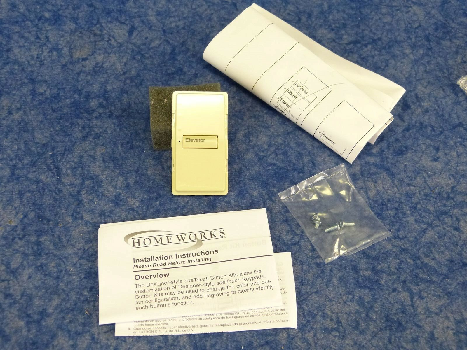 NEW Lutron SKD-1B-IV-E / Homeworks seeTouch 1 Button engraved kit