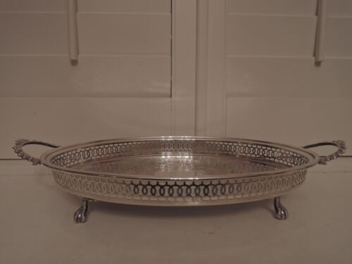 English Handled Ball & Claw Foot Pierced Gallery Silverplate Tray Butler Server