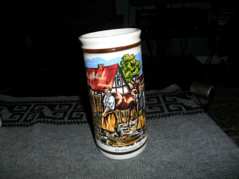 """Vintage WF Hiltenfingen 1991 BEER STEIN 7 1/2"""" Ceramic Porcelain Mug GERMANY"""