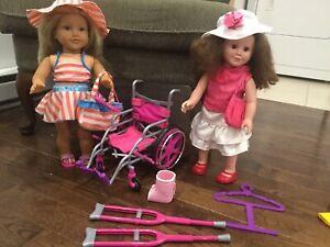 2 big dolls/accessories/clothes (see 2 photos) 2 poupée grandes