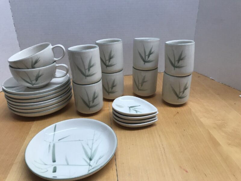 22 Pc VINTAGE WINFIELD POTTERY BAMBOO Cups Saucers Sake Juice Ashtrays Bread
