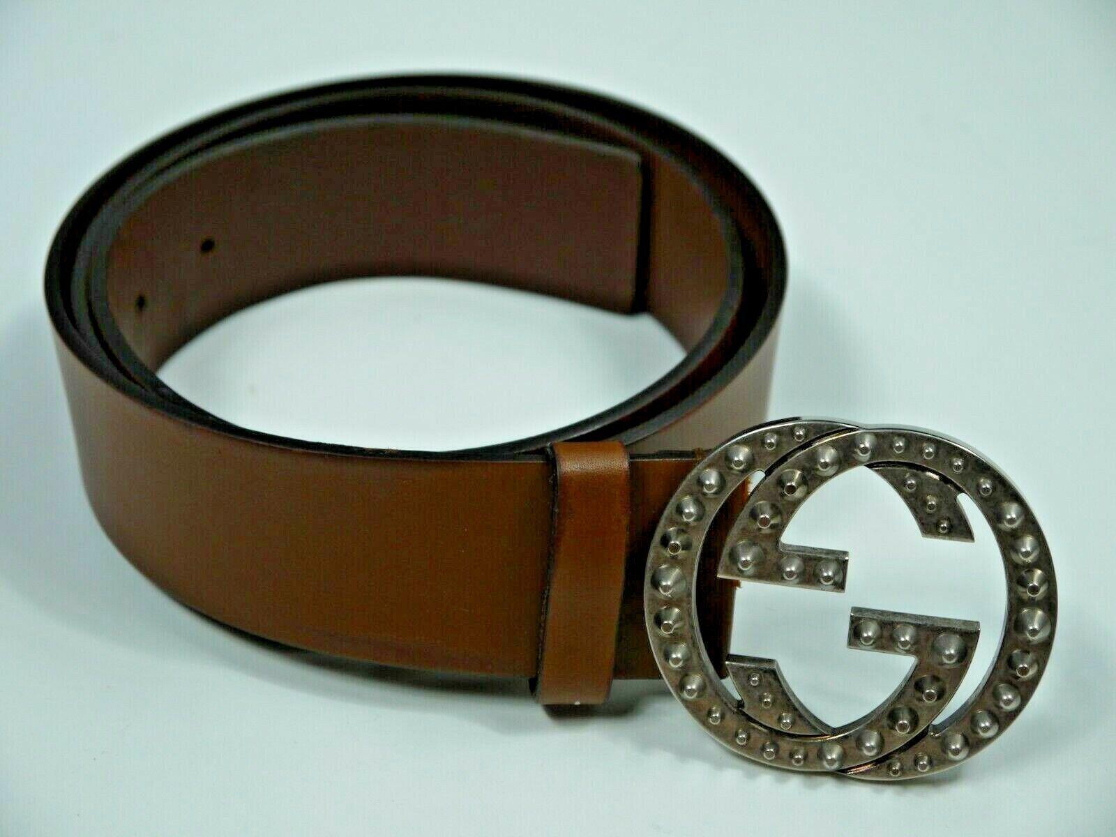 Gucci marron ceinture cuir gg monogramme argent pointe boucle hommes 38 39 40 41