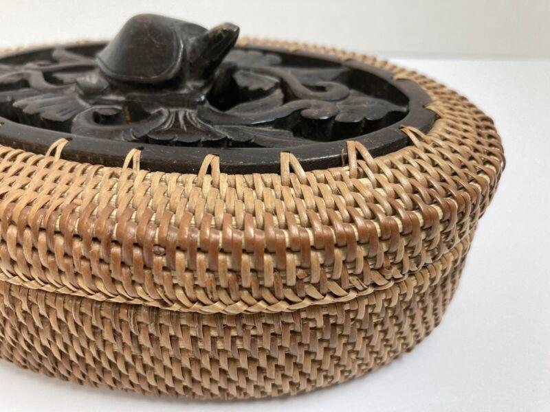Vintage Woven Lombok Island Basket with Turtle Carving Lid Folk Art