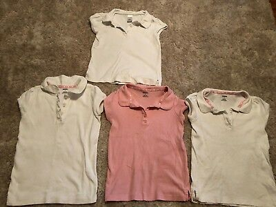 4 girls GYMBOREE COLLARED SHIRTS pink white SCHOOL UNIFORM s/s LOT clean SIZE 6