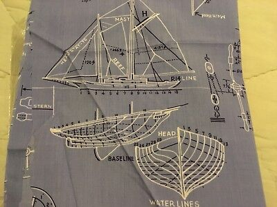 Nautical Designs Ship wheel Compass Anchor Sailboats Ocean Blue Fabric 18x30
