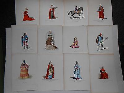 12 Stahlstiche um 1860 Mailand Milano Kostüme aus dem 13 -  16. Jhdt. Podestat
