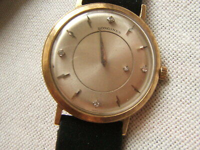 14K GOLD LONGINES MYSTERY DIAL WRIST WATCH WITH DIAMONDS ADMIRAL 1200