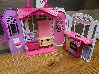 Barbie Glam Getaway Portable Dollhouse, 1 Story with Furniture, Accessories and