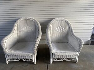 White Cane Chairs x2