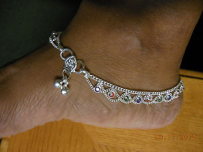 PAIR STERLING SILVER HANDMADE BELLS CRYSTALS ANKLET SWAG BOLLYWOOD INDIA PAYAL
